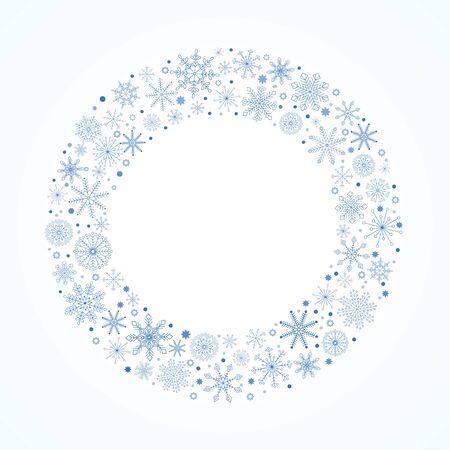 Snowflake circle frame. Winter holiday border. Ilustracja