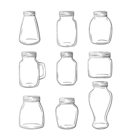 Set of hand-drawn mason jars. Vector set jars.