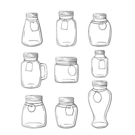 Set of hand-drawn mason jars. Vector set mason jars on white background. Ilustracja