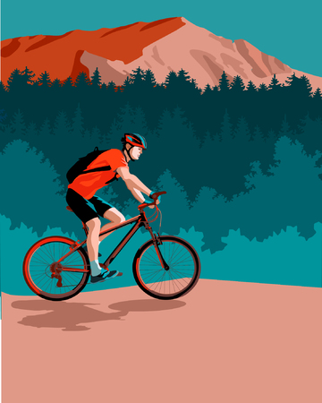 Cyclist riding in mountains Ilustrace
