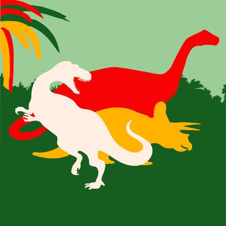 Tyrannosaurus, brontosaurus and triceratops background Illustration