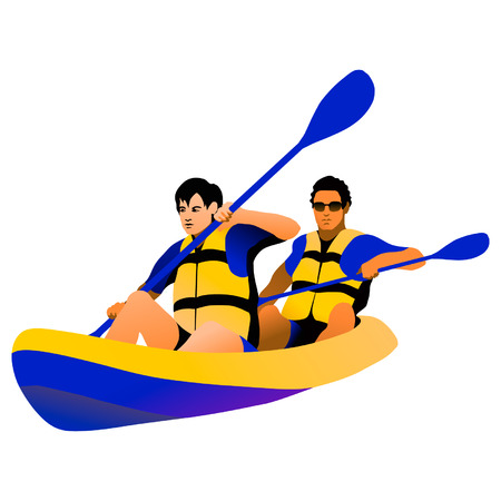 Two persons on a kayak (isolated figure)