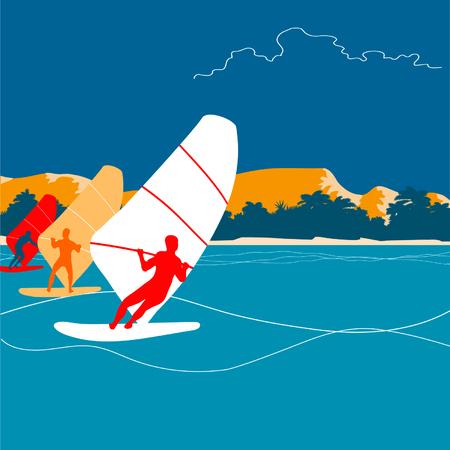 Windsurfing background Ilustração