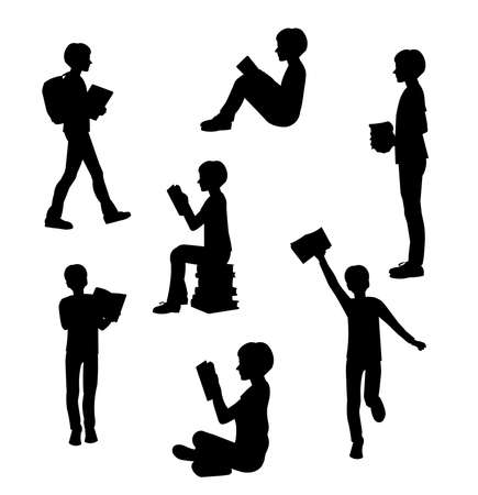 Vector isolated silhouette of a standing teenager with books in his hands Vector Illustration