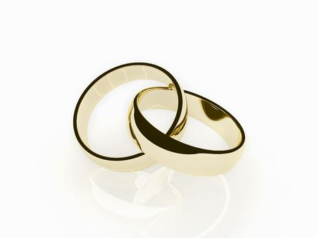 two 3d gold wedding ring Archivio Fotografico