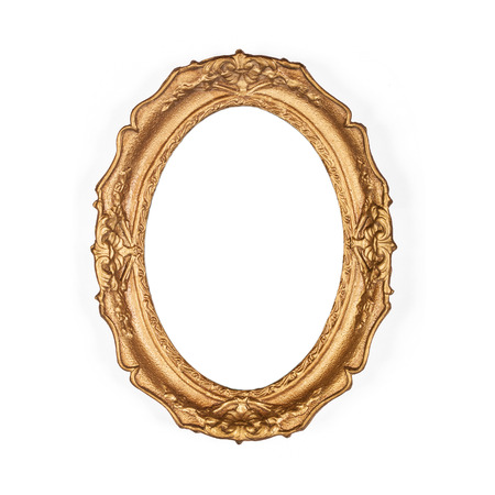 ovals: old golden picture frame, isolated on the white background Stock Photo