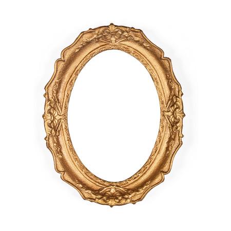marco madera: viejo marco de oro, aislado en el fondo blanco Foto de archivo