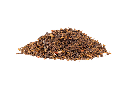 Heap of red rooibos healthy traditional organic tea on white isolated background.