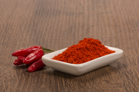 Bowl of ground red pepper spice in bowl over wood background. Stock Photo