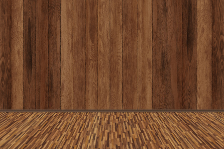 room perspective, wood room texture wall and wooden plank grou Archivio Fotografico