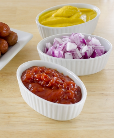 condiments ketchup onion mustard