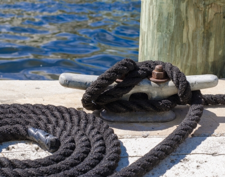 nautical rope attached to a cleat photo