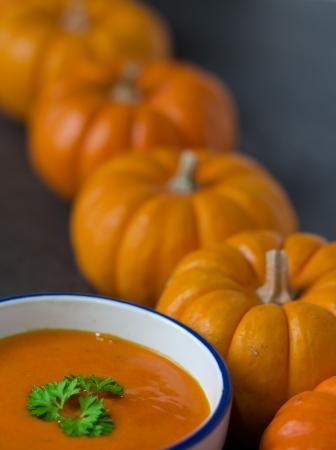 pumpkin row and pureed soup