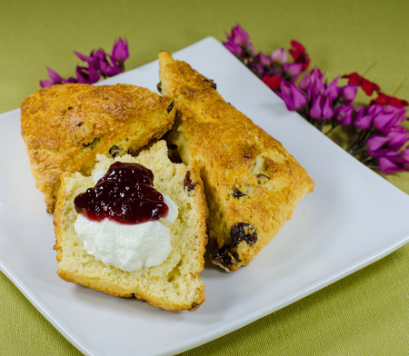 high tea scones with jam and cream