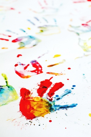hand prints with color paintings Stock Photo - 9958247