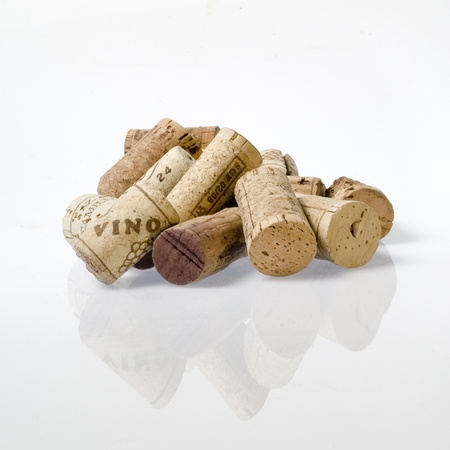 brown cork: collection of used corks of italian wine