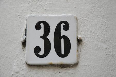 number 36: Huisnummer  number plate 36