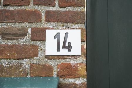 number plate: Huisnummer  number plate 14 Stock Photo