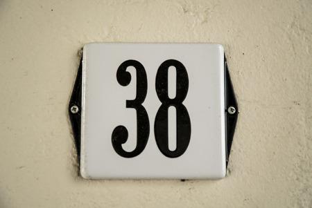 number plate: Huisnummer  number plate 38