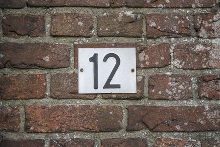 number plate: Huisnummer  number plate 12