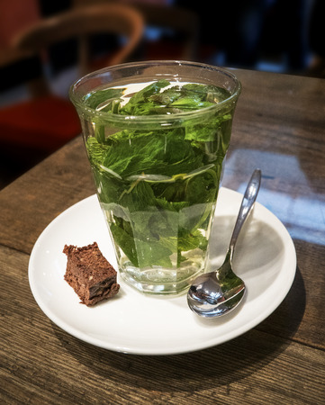 Cup of Fresh Mint Thea Stock Photo