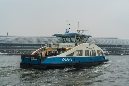Ferry on IJ Amsterdam, The Netherlands, February 10th 2017 Editorial