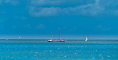 Enkhuizen, The Netherlands, august 3 2017: Sailing boat with tourists sailing on the Ijsselmeer near Enkhuizen Editorial