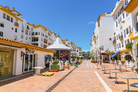 Puerto Banus, Spain, June 28 2017: quiet street at the harbour of Puerto Banus Editorial