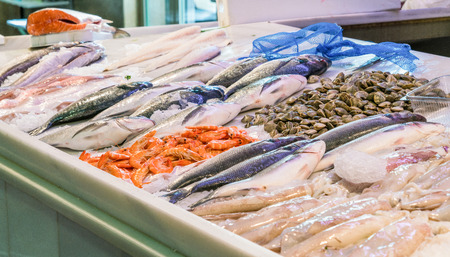 Fresh fish displayed at stall on local market