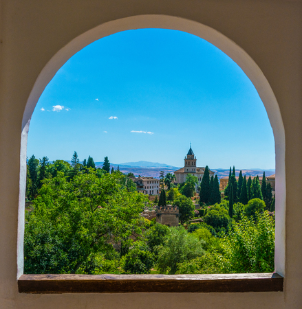 Granada, Spain, juli 1, 2017: View in the city of Granada from the gardens at the old city of La Alhambra Editorial