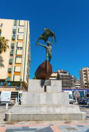 Benalmadena, Spain, June 29 2017: Statue of Homenaje Al Pescador del Mediterraneo at plaza del Remo
