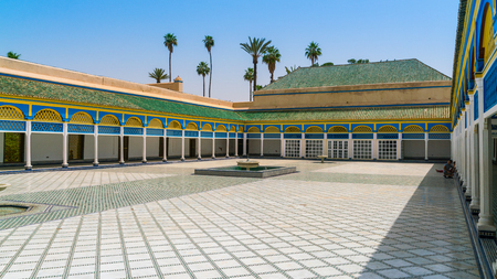 Marrakech, Morocco May 18 2017: Courtyard of the royal palace in Marrakech Editorial