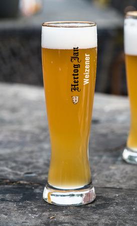 Zeewolde, October 14th 2017. Fresh pumped glass of Hertog Jan White beer at terrace of pancake restaurant Hans en Grietje