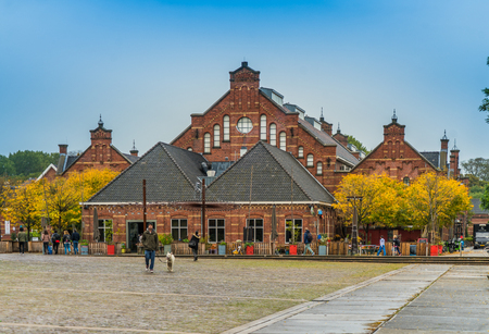 Amsterdam, September 30th, 2017: Exterior view of the Westergas Factory building renovated to a populait restaurant 新闻类图片