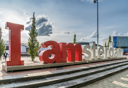 Amsterdam, September 17th 2017:  iAmsterdam sign in front of the RAI Congres and exhibition centre during the IBC (International Broadcast Convention)