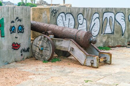 Old canon on the defense wall of Montevideo, Uruguay