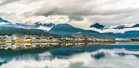 Ushuaia, Argentina, 16th March 2019 - View on The most southern town of Argentina and the world where all the Antartica cruises depart