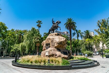Mendoza, Argentina - February 15th 2019, Statue of San Martin on the square San Martin in the center of Mendoza