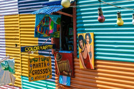 Detail of one of the famous coloured houses, La Boca, Buenos Aires, Argentina - January 22th 2019 에디토리얼
