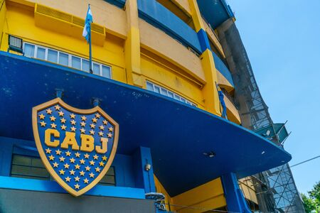 Sign at the outside of the famous Boca Juniors soccer stadium,  La Boca, Buenos Aires, Argentina - January 22th 2019