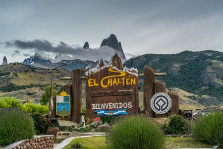 El Chalten, Argentina. 12th March 2019 - Welcome sign at the entrance of the town of El Chalten, Patagonia, Argentina