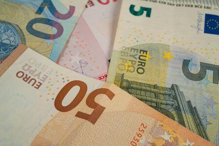 Euro bank notes five, ten, twenty and fifty Фото со стока