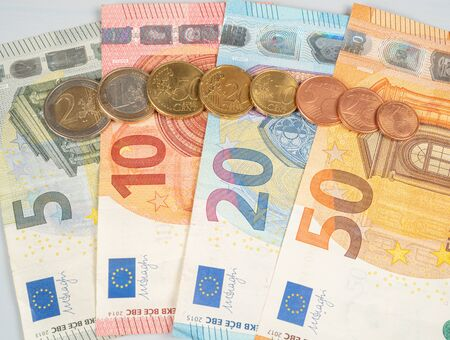 Euro coins and notes, in order five to 50 and all the different euro coins