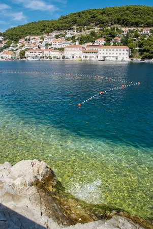 brac: Town Pucisca at Brac island in Croatia Stock Photo