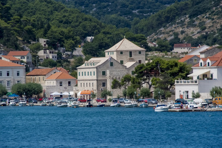 brac: Town Pucisca at Brac island in Croatia Stock Photo