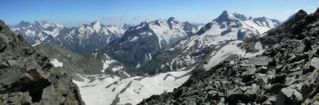 ridgeline: Mountain range panorama Stock Photo