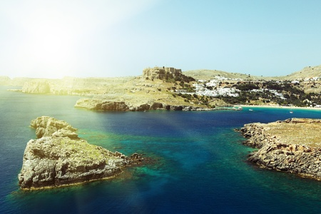 greek island: Lindos with the castle above on the Greek Island of Rhodes