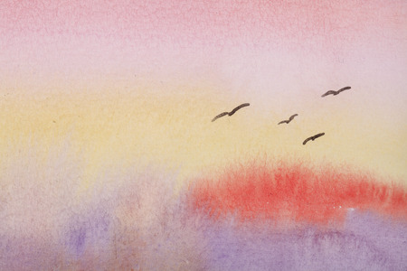 sunset sky: Sunset sky painted by Watercolor. hand drawn background. Stock Photo