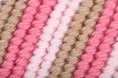 Close up of multicolor wool with detail of woven pattern photo