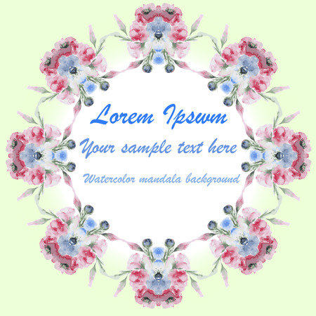 transparently: Wedding or birthday card. Floral frame. Watercolor background with flowers. Invitation.